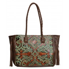 Angel Ranch Brown Faux Leather Womens Purse Floral Embossed