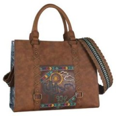 Catchfly Western Womens Handbag Tote Dakota Desert Embroidered Brown 1895508