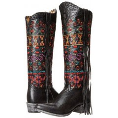 Johnny Ringo Women's Knee High Fringe Bailey Boots fango Black