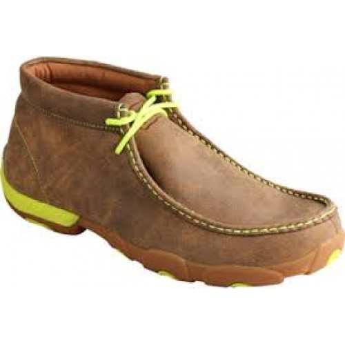 KID'S TWISTED X-NEON YELLOW HIGH TOP DRIVING MOCS