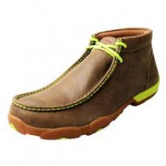 MEN'S TWISTED X-NEON YELLOW HIGH TOP DRIVING MOCS