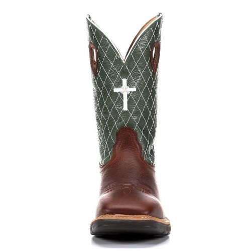 TWISTED X-COGNAC GLAZED PEBBLE/LIME WITH EMBROIDERED CROSS